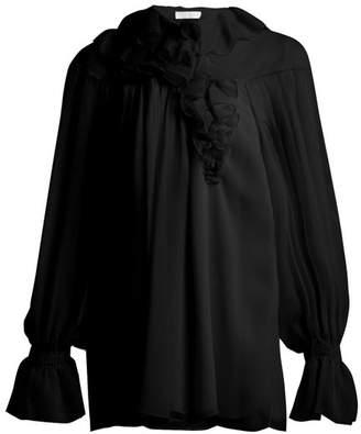 Chloé Ruffled Silk Blouse - Womens - Black
