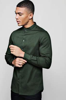 boohoo Muscle Fit Grandad Collar Long Sleeve Shirt