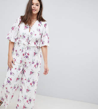 Fashion Union Plus Tea Jumpsuit With Kimono Sleeves In Vintage Floral