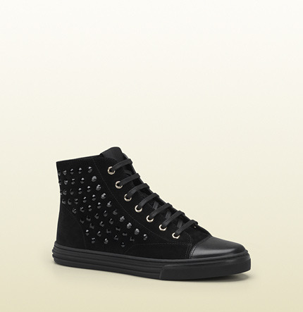Gucci California Suede High-Top Sneaker With Crystal Studs