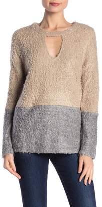Peach Love California Textured Knit Mock Neck Sweater