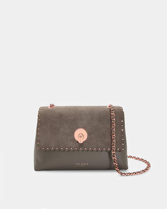 Ted Baker SULTANE Studded circle lock leather and suede bag