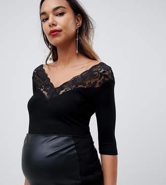 Asos DESIGN Maternity top with lace bardot off shoulder trim