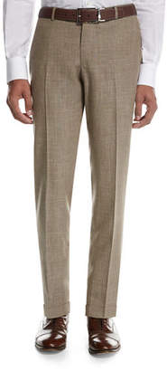 Isaia Sanita Mélange Linen-Look Cotton Trousers
