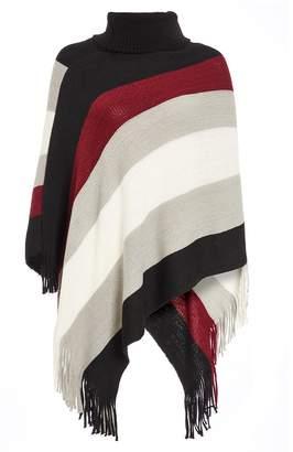 Quiz Wine Stripe Cowl Neck Poncho