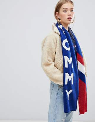 Tommy Jeans glitter knit scarf with logo & chevron
