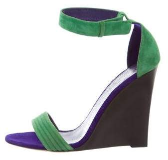 Céline Bi-Color Suede Wedge Sandals