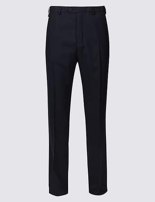Marks and Spencer Regular Fit Wool Blend Flat Front Trousers