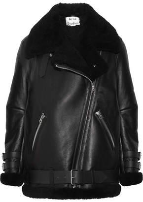Acne Studios - Velocite Shearling-trimmed Leather Biker Jacket - Black