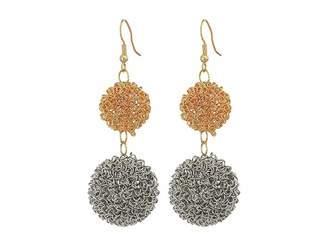 Kenneth Jay Lane Gold/Silver Double Wire Ball Drop w/ Fishhook Ear Earrings