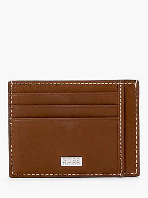 HUGO BOSS BOSS Crosstown Grained Italian Leather Six Slot Card Holder, Brown