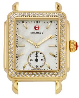 Michele Deco 16 Diamond Gold Plated Watch Head, 29mm x 31mm