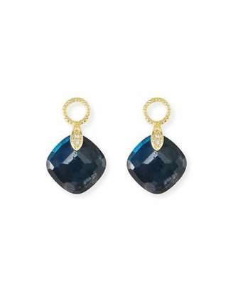 Jude Frances 18k Lisse Doublet Cushion Earring Charms in Labradorite/Onyx