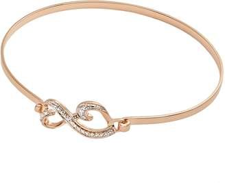 Love Is Forever 14k Rose Gold Over Silver Diamond Accent Double Heart Bangle Bracelet