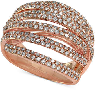 Effy Pave Rose by Diamond Dome Crossover Ring (1 ct. t.w.) in 14k Rose Gold