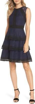 Eliza J Ruffle Fit & Flare Dress