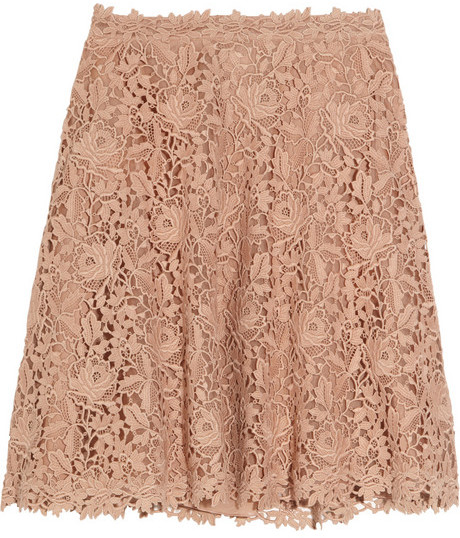 Valentino Flared silk-organza and cotton-lace skirt