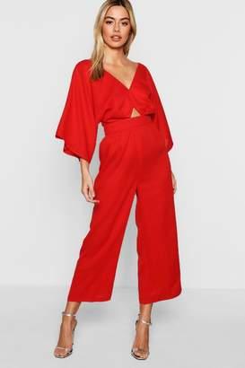 boohoo Petite Kimono Sleeve Culotte Jumpsuit