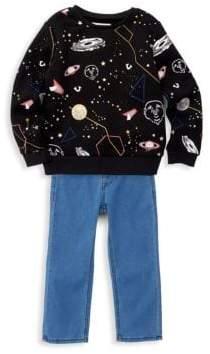 True Religion Little Boy's Two-Piece Galaxy Print Pullover & Jeans Set