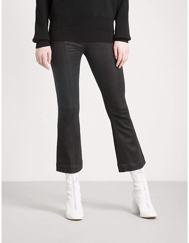 Coated flared high-rise jeans