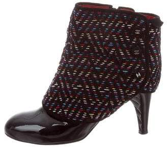 Chanel Patent Leather Tweed Booties