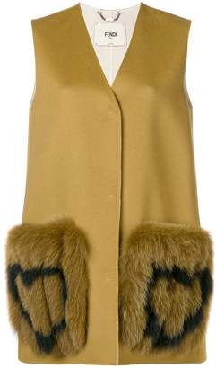 Fendi heart-patch sleeveless coat