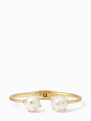 Kate Spade Pearl bauble open hinged cuff