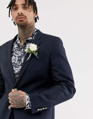 Asos Design DESIGN wedding skinny blazer in navy with gold buttons