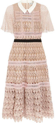 Self-Portrait - Guipure Lace Midi Dress - Blush $615 thestylecure.com