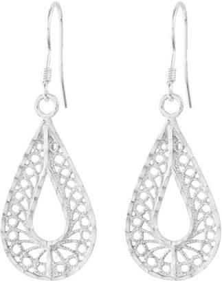 Sterling Diamond-Cut Filigree Pear Shape DangleEarrings