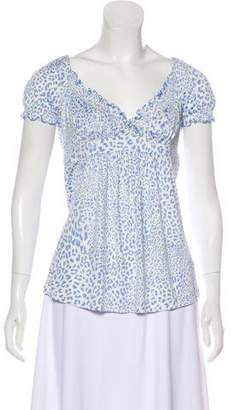 Blumarine Animal Print Short Sleeve Top
