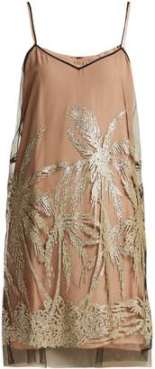 No.21 NO. 21 Glitter-embellished palm tree tulle slip dress