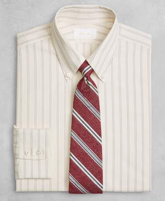 Brooks Brothers Golden Fleece Milano Slim-Fit Dress Shirt, Button-Down Collar Dobby Split Stripe