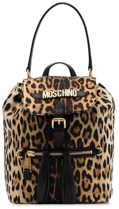 Moschino black and brown logo leopard print leather backpack