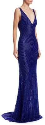 Naeem Khan Beaded Plunging Back Gown