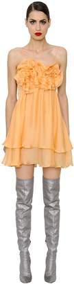 DANIELE CARLOTTA Ruffled Silk Chiffon Mini Dress