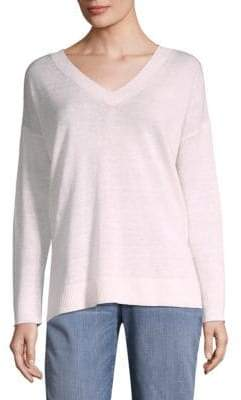 Eileen Fisher Organic Linen V-Neck Sweater
