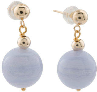 14k Gold Bead And Blue Lace Agate Drop Earrings