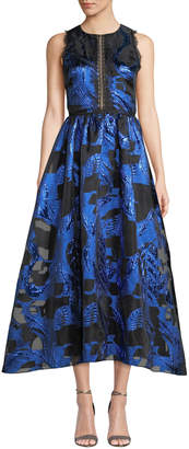 Marchesa Fil Coupe & Lace Cutout Dress