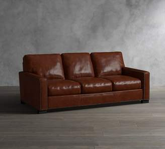 Pottery Barn Turner Square Arm Leather Sleeper Sofa with Nailheads