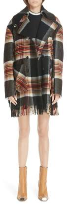 Calvin Klein x Pendleton Fringe Plaid Blanket Coat