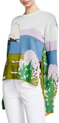 Altuzarra Landscape-Intarsia Open Side-Tie Crewneck Pullover Sweater