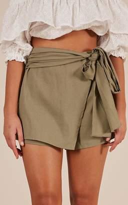 Showpo Meet Your Maker skort in khaki linen look Shorts