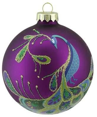Northlight Regal Peacock Glittered Glass Ball Christmas Ornament