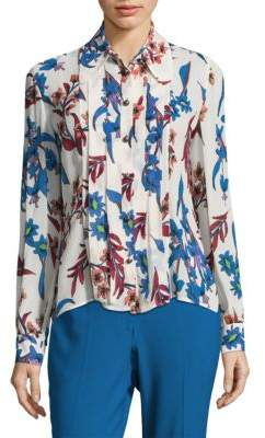 Etro Pleated Floral Silk Blouse