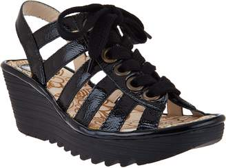 Fly London Leather Multi-strap Lace-up Wedges - Yito