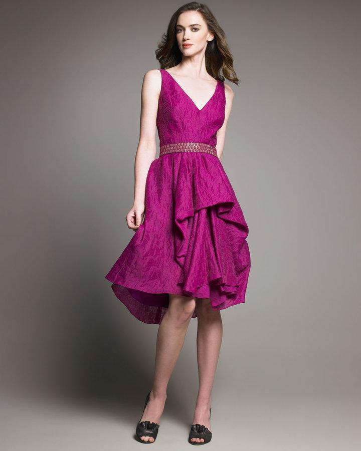 Lela Rose Textured V-Neck Dress