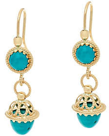Italian Gold Turquoise Drop Earrings, 14K Gold