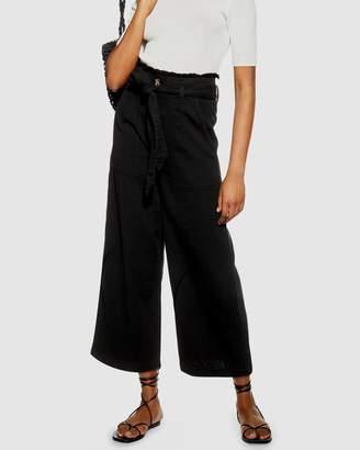 Topshop Casual Tie Waist Wide Leg Trousers
