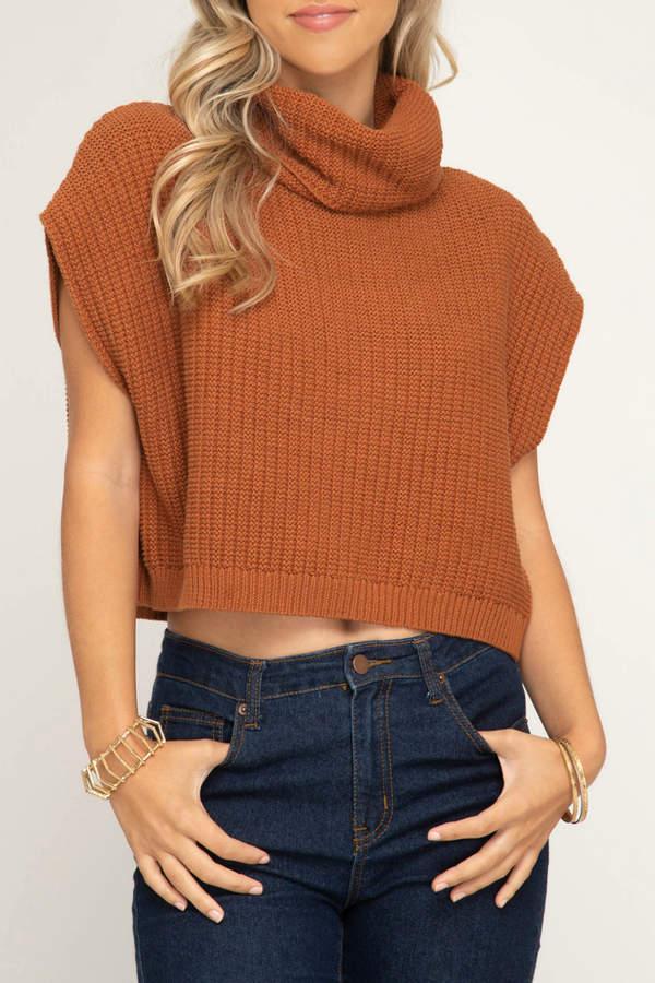 She + Sky Sleeveless cowl neck knit sweater crop top